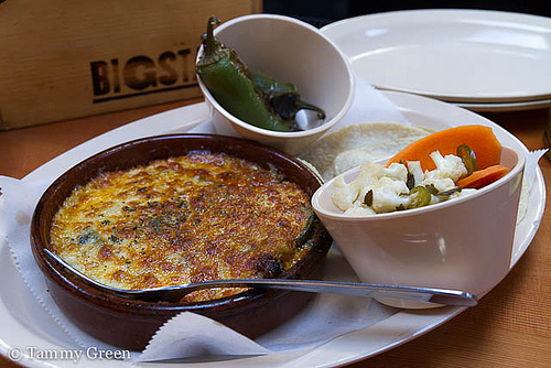 Queso Fundido, Vegetables En Escabeche, Chiles Torreados