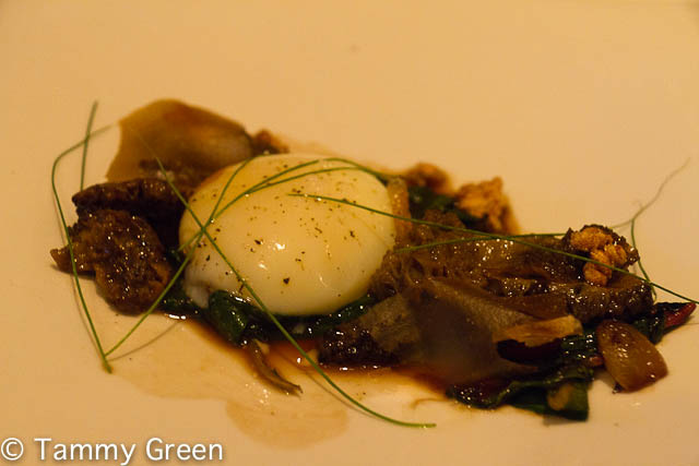 One-Hour Poached Hen's Egg with Morel Mushrooms, Swiss Chard & Liquorice