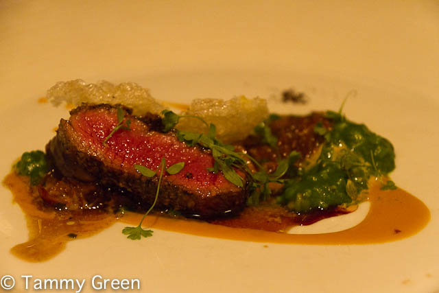 Elysian Fields Farm Roasted Saddle of Lamb with Toasted Espresso, Trumpet Royale Mushrooms & Boudin Noir