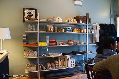 Shelves of local goods