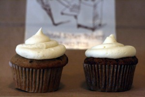 Carrot cake & banana-chocolate cupcakes from Twisted Sister Bakery.