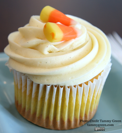 A candy corn cupcake from Phoebe's Cupcakes.