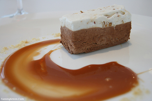 Chocolate, nougat and caramel form a perfect combination for dessert.