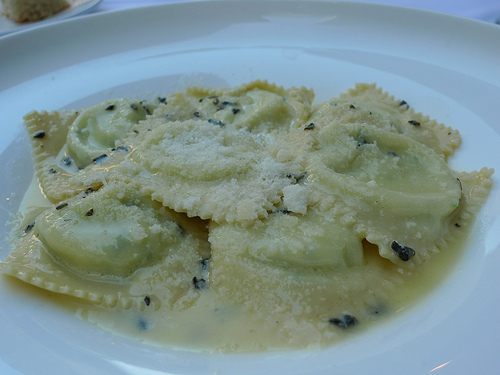 Ravioli and spinach