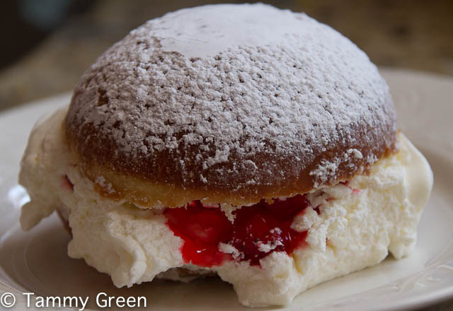 Plum jelly and creme paczki make for a decadent combo.